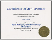 rapid prototyping masters certificate